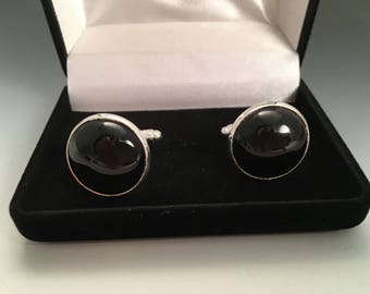 Black Onyx Sterling Silver Cufflinks Cuff Links with gift box
