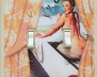 Double pinup Switchplates & MATCHING SCREWS- Pinup girl pinup decoration humorous art pin up wall art Gil Elvgren art print pinup funny art