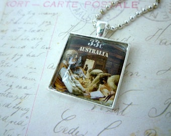 Square Glass Pendant - Recycled Vintage 1987 Australian Stamp - Click go the Shears - Sheep Shearing - Chain included