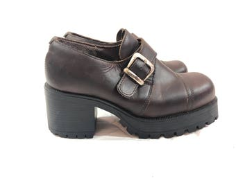 Vintage 90's Aldo chunky brown leather platform grunge shoes 8.