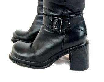 90's 9 West Chunky Platform Block heel Black Leather buckle boots 8 8.5