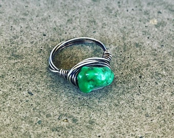 Silver Wire Wrapped Chinese Turquoise Nugget Ring