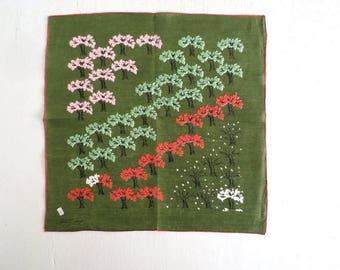20% off sale Tammis Keefe Handkerchief | Orchard Print | 1950s Handkerchief