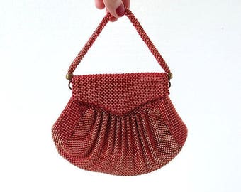 20% off sale Vintage Whiting and Davis Mesh Purse | 1940s Purse | Red Gold Mesh Bag