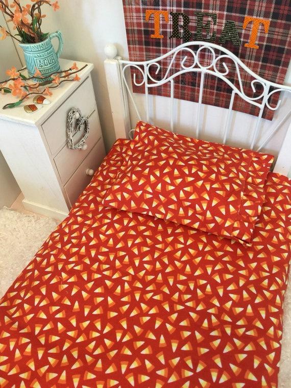 Doll 18 inch sized Sheet, Ruffled Pillowcase and Pillow- Halloween Candy  Corn set
