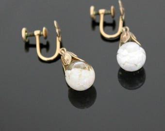 Opalite Opal Earrings, Vintage 12K Gold Filled G/F Clip On Teardrop Dangle in Original Box