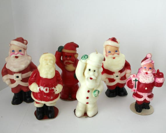 6 Vintage Large Santa Claus Gurley Tavern Christmas Candles