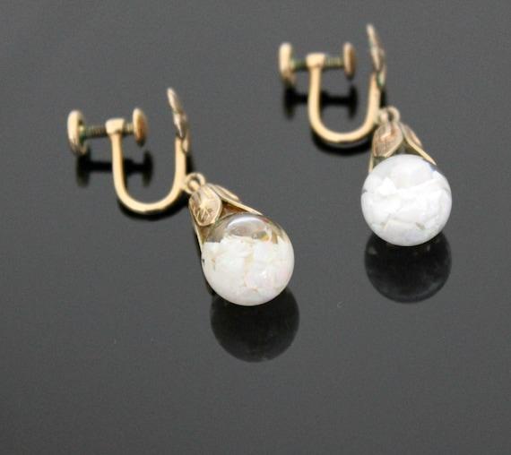 Vintage Opalite Opal Earrings, 12K Gold Filled G/F Clip On Teardrop Dangle in Original Box