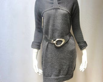 Hand Knit  Wool Sweater/Tunic Dress - Simple and Elegant - Free Shipping in US