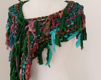 recycled silk chiffon  tattered scarf dark bottle green pink,red, beige