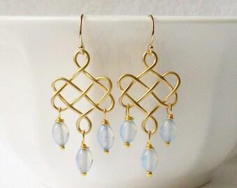 Gold Chandelier Earrings, Vintage Rosary Beads Dangle Earrings