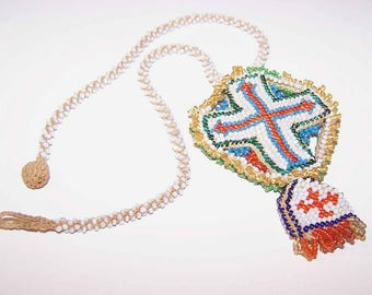 Vintage Necklace,Beaded Necklace,French Necklace,Religious Necklace,Maltese Cross,Handmade,Cross Necklace,Hand Beaded Necklace,Glass Beads