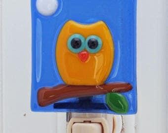 Glassworks Northwest - Owl Moon Night Light - Fused Glass Art