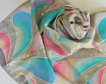 Hand Painted Silk Scarf - Handpainted Scarves Gray Grey Silver Teal Green Cornflower Blue Coral Pink Ivory Cream White Pastel
