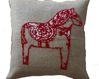 Needlepoint pattern DALA HORSE - christmas pillow,scandinavian,cross stitch,needlepoint,embroidery,cushion,swedish,anette eriksson,