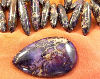 Marble Amethyst, Glass, Flat back Cabochon, with Long Tubes, 1 set