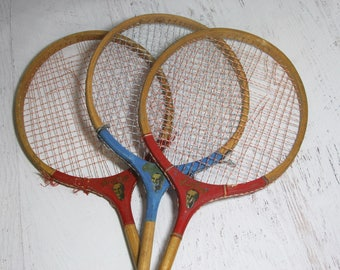 Vintage WOODEN BADMINTON  RACQUETS- Fred Perry- Game Racquet Sports Decor- Man Cave