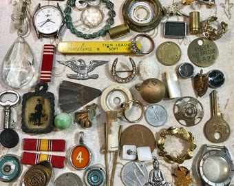 Vintage Assemblage Lot- COSTUME JEWELRY Findings- Typewriter Keys- Coins- Buttons- Found Object Lot- C11