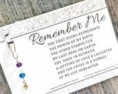 Remember Me - Memorial Gift Featuring An Original Poem & Custom Handmade Birthstone Remembrance Charm (Glass Dash + Mini Shiny Gold Cross)