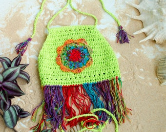 Baby Girl Clothes, Neon Green Crochet Halter for Kids, Fringe Wrap Around Top, Perfect for Sunshine Season, Girls Summer Outfits, Mandala