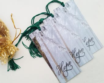 Hope Bookmark Set - Hope Bookmark with Tassel - Bookmark Gift - Inspirational Bookmark - Bookmark Favors - Book Club Gift - Book Lover Gift