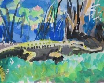 allegator, watercolor painting, gouache watercolor, lowcountry, Savannah Wildlife Preserve, marsh land, lily pad, water, marsh grass, 8x10