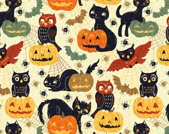 Vintage Halloween Fabric - Halloween Animals By Gaiamarfurt - Retro Rustic Halloween Owls Cats Cotton Fabric By The Yard With Spoonflower