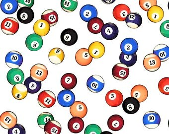 Billiards Fabric - Billiards Balls By Thin Line Textiles - Billiards Pool Balls Solids Stripes Cotton Fabric By The Yard With Spoonflower