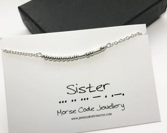 SISTER Morse Code Anklet - Secret Code Anklet