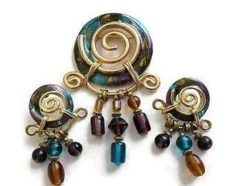 Egyptian Style Brooch and Earrings Set Teal, Purple & Amber Enamel Vintage