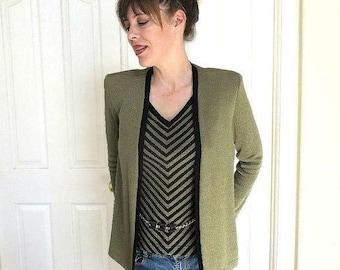 SALE Green Taupe & Black Sweater Vest and Jacket with Belt Detail Vintage 1988