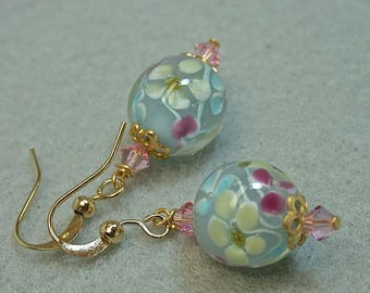 Vintage Japanese Aqua Blue Givre Glass Bead Earrings Dangle Drop Flowers , Vintage Pink Crystal Beads, Gold Ear Wires - GIFT WRAPPED JEWELRY