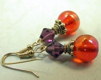 Vintage Orange Carnival Glass Dangle Drop Bead Earrings ,Vintage Swarovski Amethyst Purple Crystal,Gold Ear Wires - GIFT WRAPPED JEWELRY