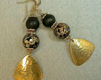 Vintage Japanese Tensha Dangle Drop Black iridesecent Bead Earrings , Vintage Black Crystal Beads,Gold Plated Dangles