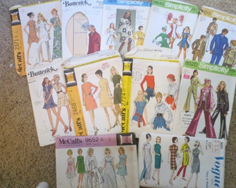 Sewing Patterns Lot of 11 Mixed Sizes MISSES/WOMEN 1970s / wedding dress  dress blouses vest cheerleader McCalls Butterick Simplicity Vogue