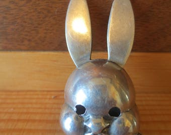Vintage Sterling Silver Bunny Rabbit Baby Bib or Sweater Clip / Incomplete for parts repurpose / 1930s JW Robbins / Creepy Bunny