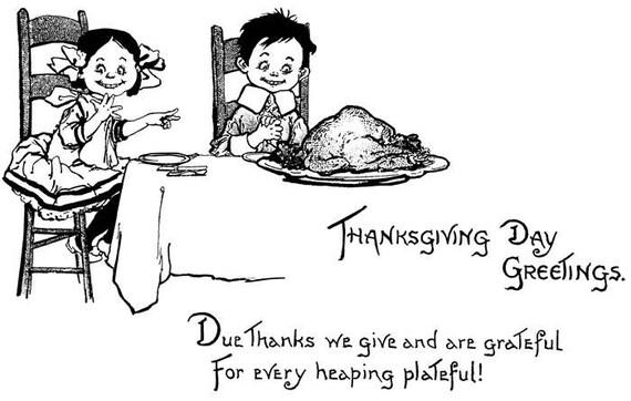 "Thanksgiving dinner printable vintage art clipart png clip art digital stamp family image graphics black & white line art 7.5"" x 11.8"""