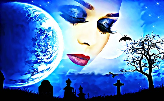 "spirit woman from heaven fantasy art print original surreal abstract moon cemetery graveyard 8"" x 10"" home decor"