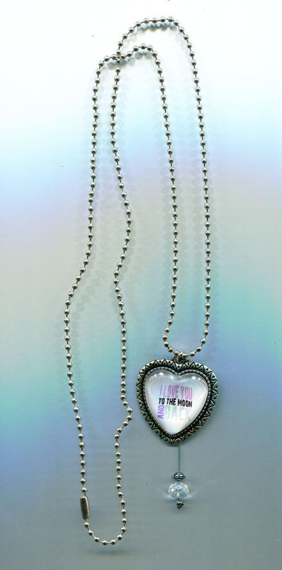 i love you to moon and back heart pendant NECKLACE silver metal ball chain jewelry handmade