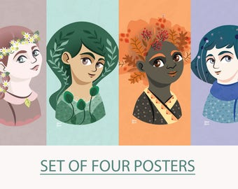 SET of 4 POSTERS, four seasons illustration, poster print, nursery room, kids room, children illustration