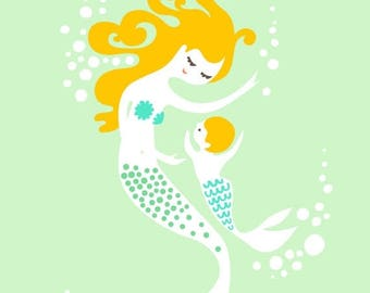 """SUMMER SALE 5X7"""" mermaid mother and baby boy. giclee print on fine art paper. seafoam green, teal blue, blonde."""