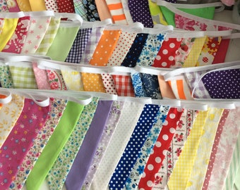 50ft Extra Long Bunting / fabric garland / banner - 50ft Long 15m, bright fun colours, weddings, parties, decoration