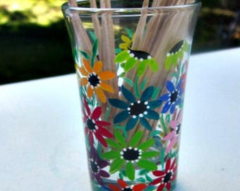 Toothpick Holder, Shot Glass, Hand Painted Glass, Glass Toothpick Holder, Table Decoration, Hand Painted Colorful Flowers, Bar Decoration