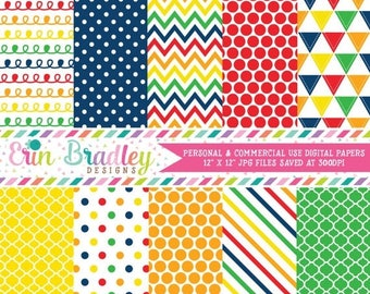 50% OFF SALE Primary Colors Digital Paper Pack Instant Download Digital Papers Polka Dots Stripes Chevron Triangles & Doodles