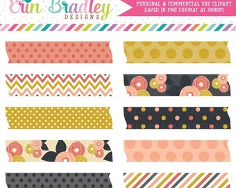 50% OFF SALE Mod Fall Washi Tape Clipart Clip Art Personal Commercial Use Instant Download