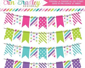 50% OFF SALE Cotton Candy Colorful Bunting Banner Flag Clipart Clip Art Set Personal & Commercial Use