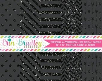 80% OFF SALE Black Glitter Digital Paper Pack Stripes Polka Dots Arrows and Chevron Glitter Digital Scrapbook Paper