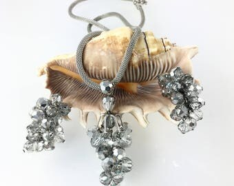 Silver Gray Bead Mesh Statement Necklace, Clip Earrings, Cha Cha Jewelry, Matched Set Costume Jewelry