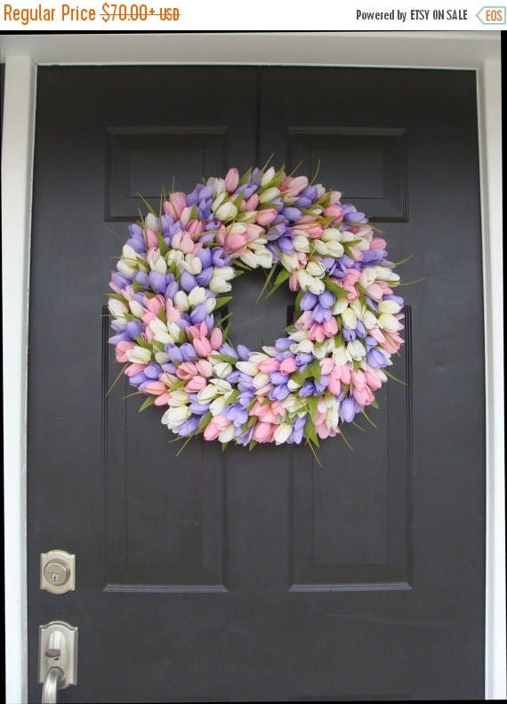 SUMMER WREATH SALE Spring Wreath- Wedding Wreath- Original Tulip Wreath- Spring Decor- Spring Decoration