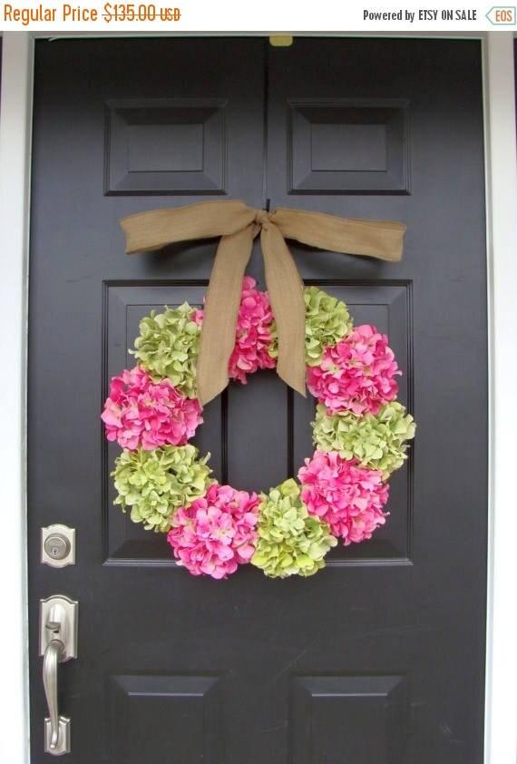 SUMMER WREATH SALE Spring Hydrangea Wreath- Door Wreath- Wedding Wreath- Wedding Decor- Custom Colors